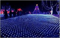 Сетка-гирлянда синего цвета 2*3 м, состоит из 200 led-лампочек, для праздничного и торжественного освещения, фото 1
