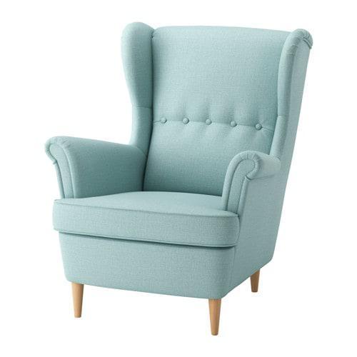 Кресло IKEA STRANDMON Skiftebo светло-бирюзовое 303.610.43