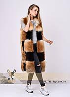 Роскошная меховая жилетка из лисы с комбинированными вставками