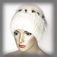 """Меховая шапка из Rex Rabbit """"Солнце"""" белая"""