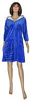 Халат женский велюровый 18044 Simple Cat Bright Blue с капюшоном, р.р.44-54