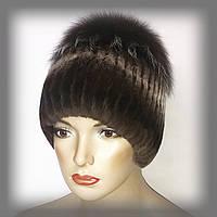 """Меховая шапка из Rex Rabbit """"Солнце"""" коричневая"""