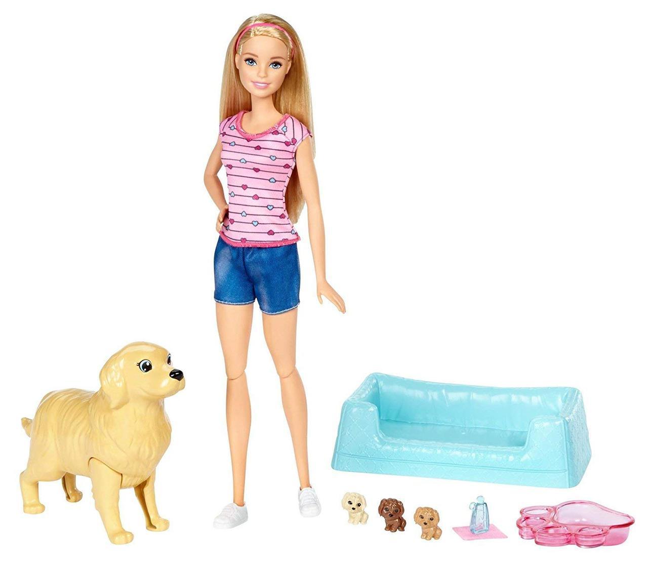 Кукла Барби с собакой и новорожденными щенками Блондинка Barbie Newborn Pups Doll, Blonde