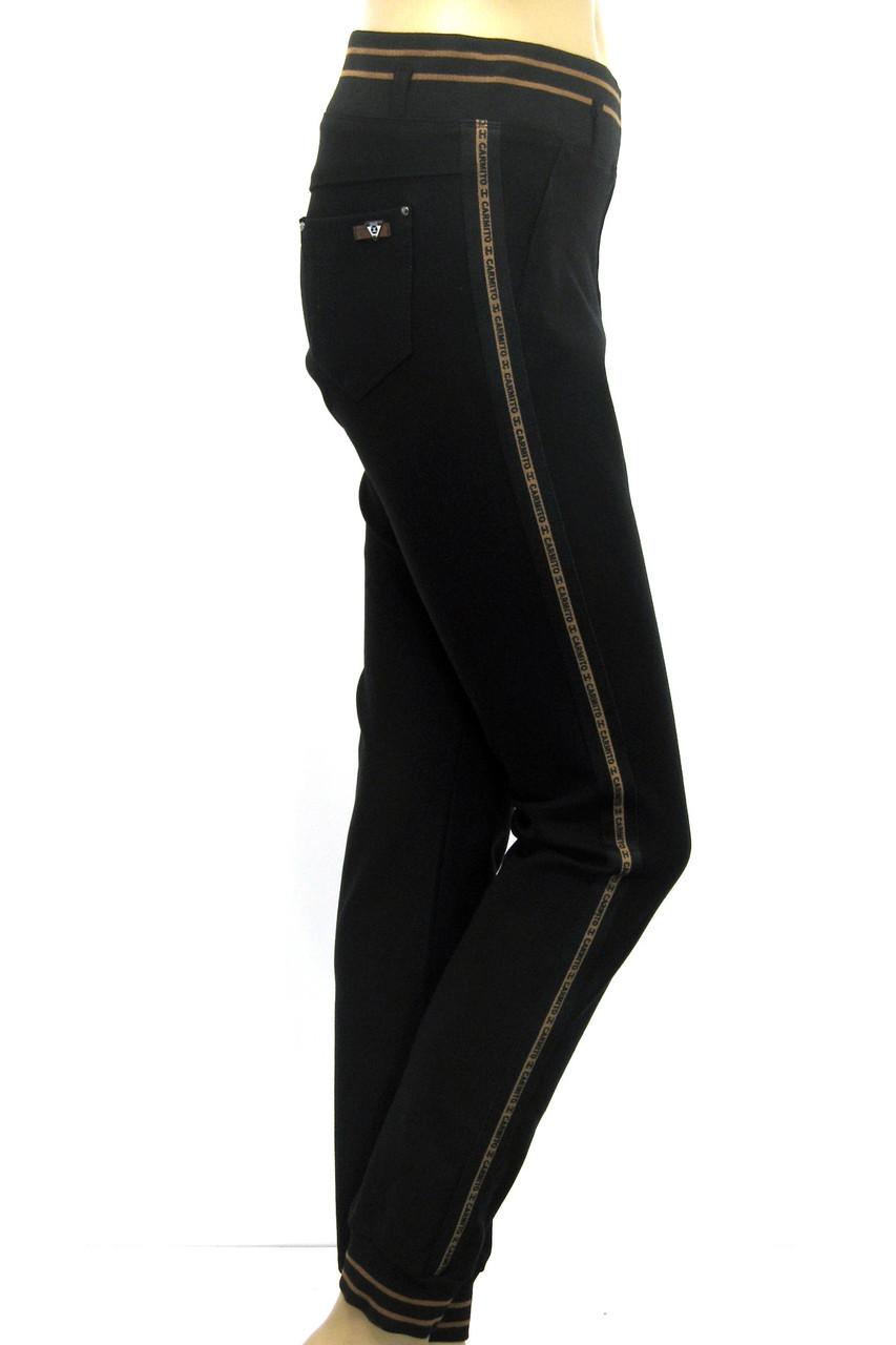 Чорні жіночі  штани на резинці батали з лампасами