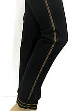 Чорні жіночі  штани на резинці батали з лампасами, фото 3