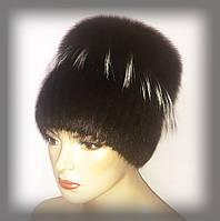 """Меховая шапка из ондатры """"Кубанка""""(комбинированная с песцом) коричневая"""
