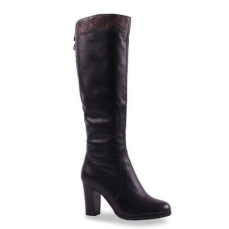 Модные женские сапоги Dina Fabiani (зимние, на каблуке, красивая вставка, натуральная кожа, удобные, теплые)