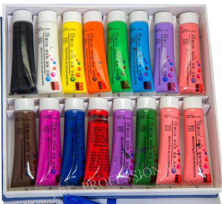 3D Краски акриловые набор 16 цв. 22 мл YRE \ 09.823