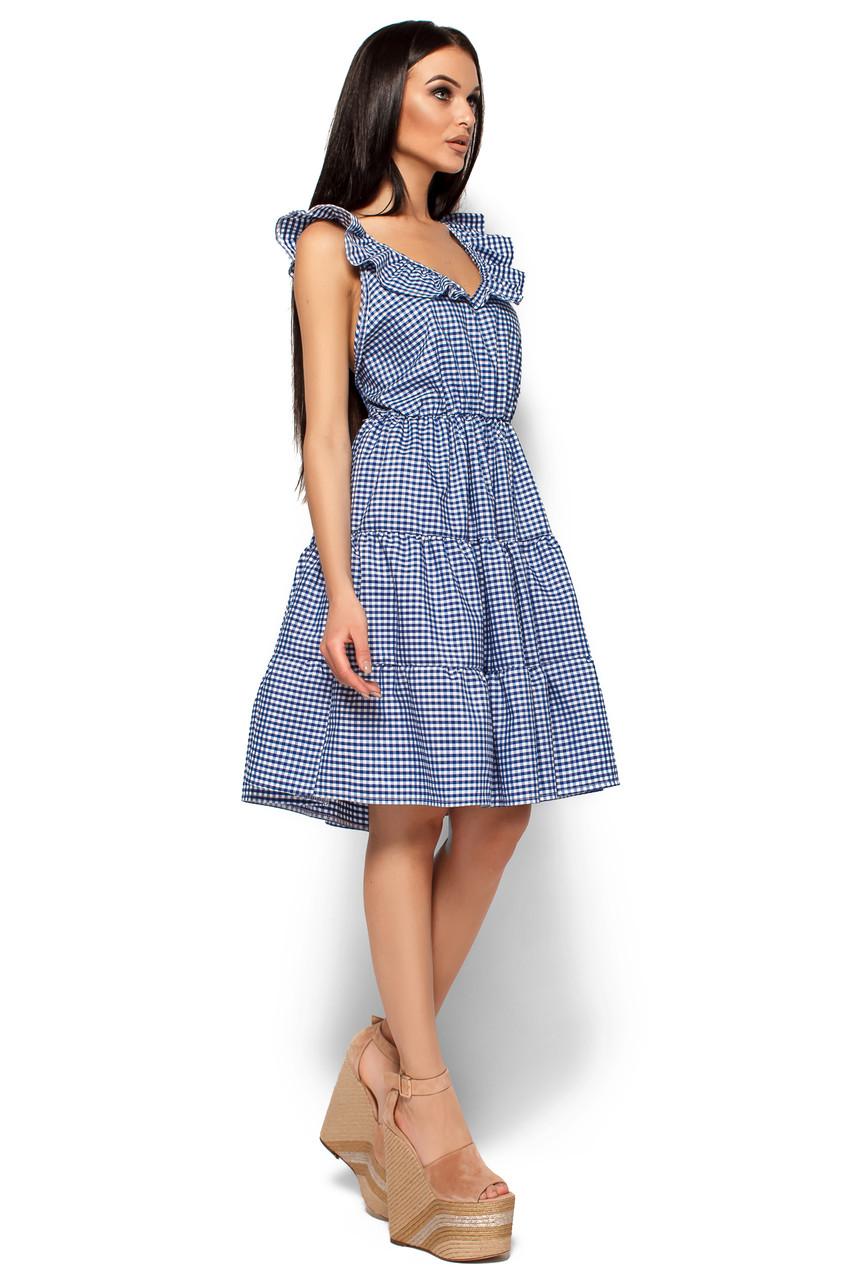 13d8414241a Летнее платье выше колен юбка солнце клеш без рукав клетчатое синее -