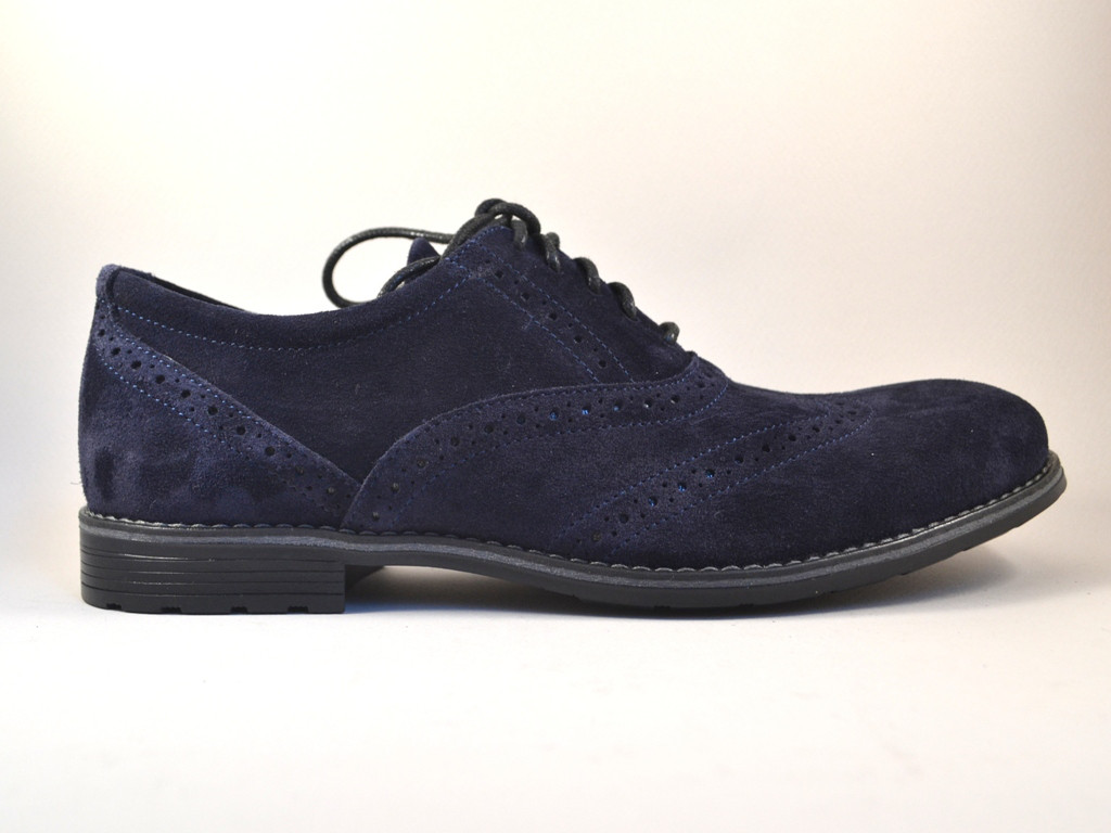 Туфли замшевые синие броги мужская обувь больших размеров Rosso Avangard BS Felicete Uomo Blu Vel