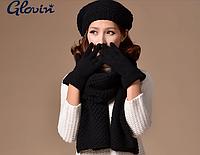 Зимний шерстяной комплект берет, шарф, перчатки