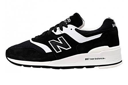 3705b97bb4ab Кроссовки мужские нью беленс 997 замшевые повседневные черные белые (реплика)  New Balance 997 White Black