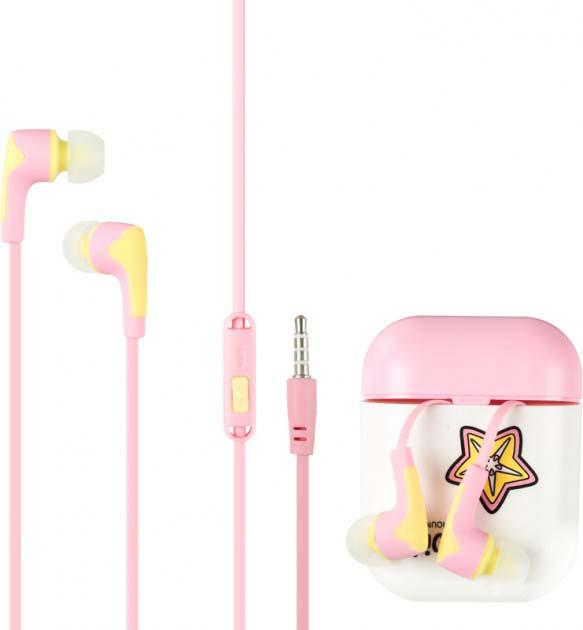 Гарнитура для телефона Keeka MC125 с микрофоном и кнопкой ответа, Fruit Розовая