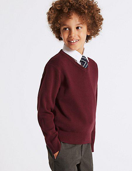 Школьный джемпер бордовый на мальчика 5-6-7-8-9-10 лет Cotton Rich Burgundy Marks&Spencer (Англия)