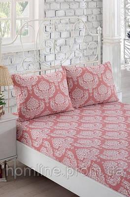 Простынь на резинке с наволочками Eponj Home Post gul kurusu розовая 160*200 двухспальная евро размер