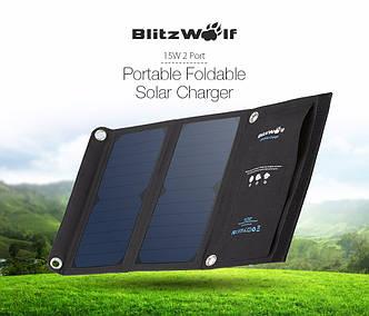 Зарядное на солнечных панелях BlitzWolf BW-L2 15W, 2 USB 5V 2A