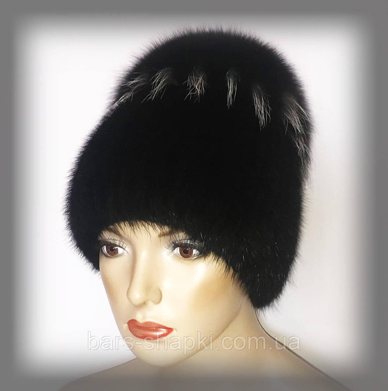 """Женская меховая шапка из ондатры с песцом """"Солнце"""" (черная)"""
