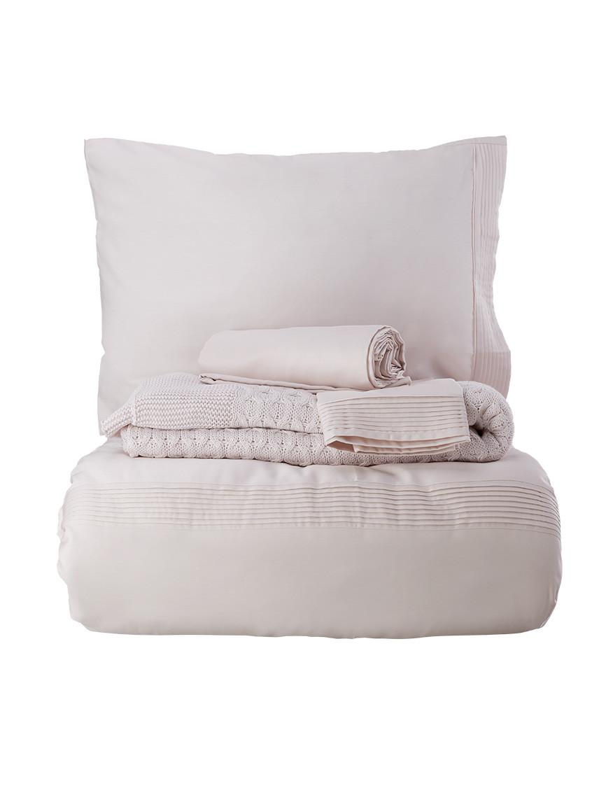Набор постельное белье с пледом Karaca Home - Brezza pudra 2018-2 пудра евро