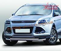Защита переднего бампера труба d60/овальная 75х42 Premium двойная Союз 96 на Ford Kuga 2013