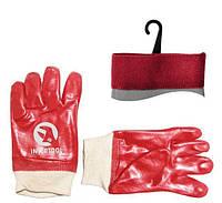 Перчатка маслостойкая х/б трикотаж покрытая PVC c вязаным манжетом (красная) INTERTOOL SP-0006