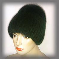 """Женская меховая шапка из ондатры с песцом """"Лия"""" (зелёная)"""