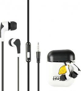 Гарнитура для телефона Keeka MC125 с микрофоном и кнопкой ответа, Fruit Черная