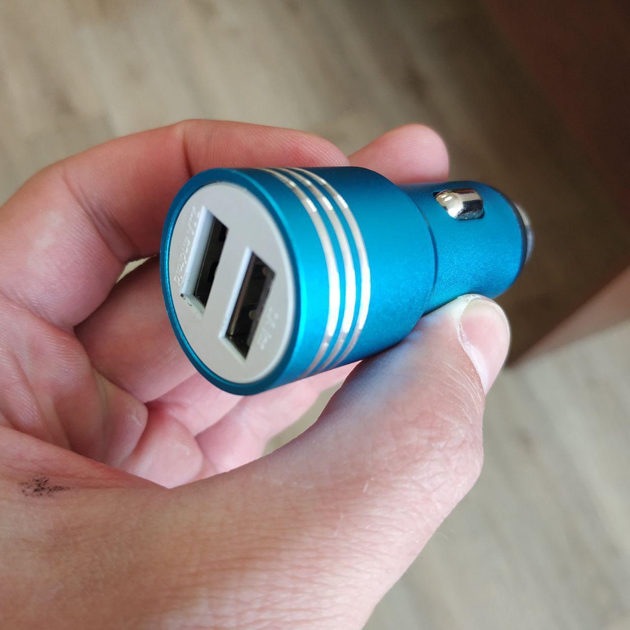 Автомобильное зарядное устройство 12v CAR USB Hammer HF-01 (2 разъёма) 2.1A в прикуриватель синий, фото 1