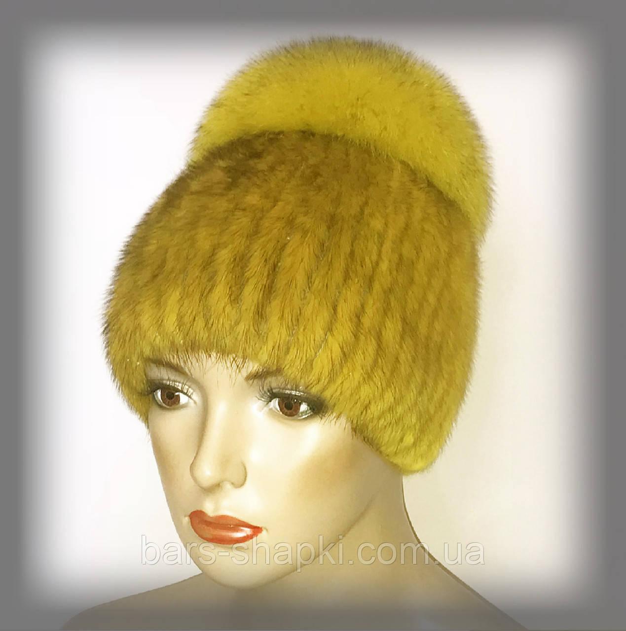 """Женская меховая шапка из ондатры с песцом """"Лия"""" (жёлтая)"""