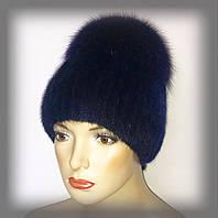 """Женская меховая шапка из ондатры с песцом """"Лия"""" (синяя)"""