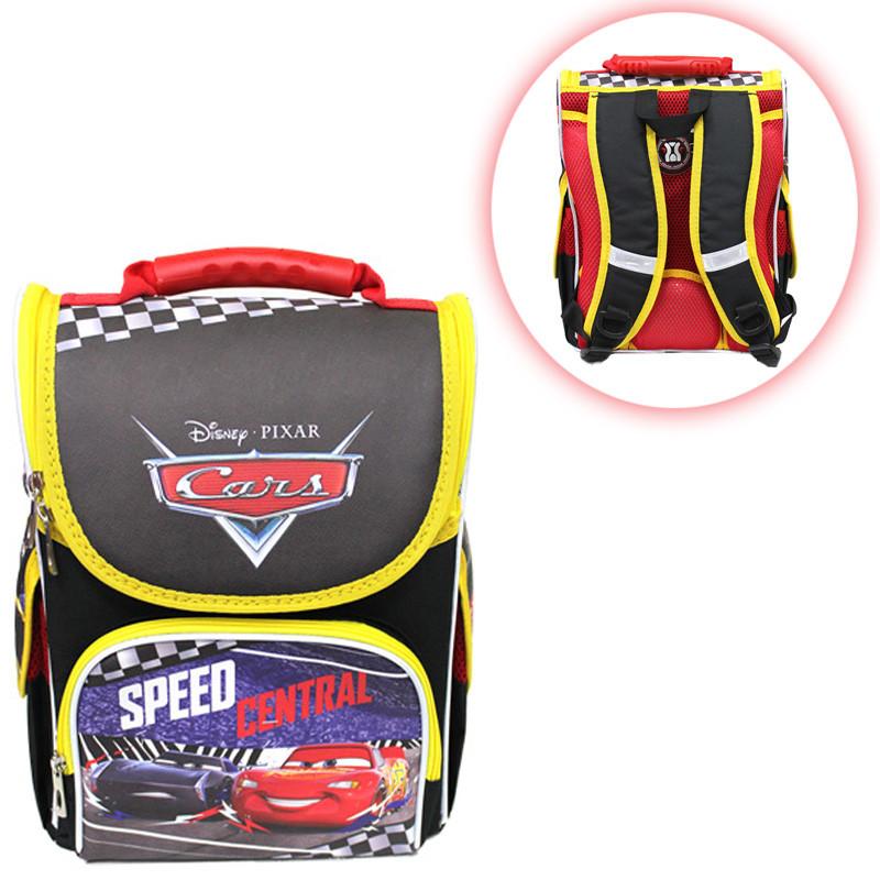 Каркасный ортопедический рюкзак-короб для мальчика ТМ Smile принт Машина Тачки Маквин 34,5*25,5*13 см