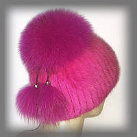 """Женская меховая шапка из ондатры с песцом """"Лия"""" (розовая)"""