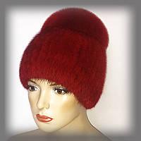 """Женская меховая шапка из ондатры с песцом """"Лия"""" (красная)"""
