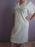 Женская ночная рубашка зеленые цветочки