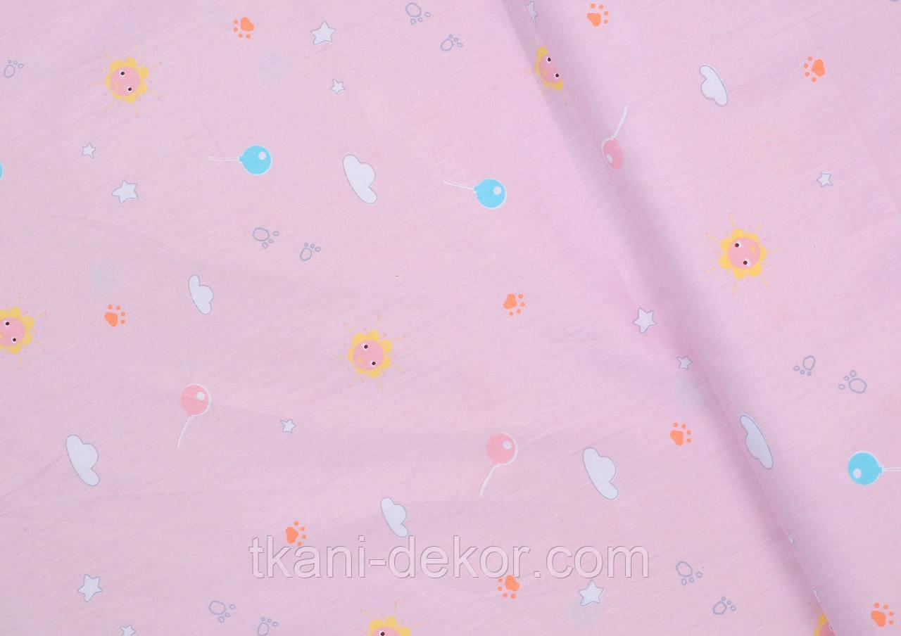 Сатин (хлопковая ткань)  на розовом фоне тучки, леденцы