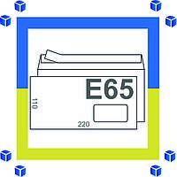 Конверты E65 с окном (110х220 мм),бел. (0+0)