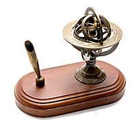 Оригинальный бизнес сувенир Сфера бронзовая с подставкой под ручку