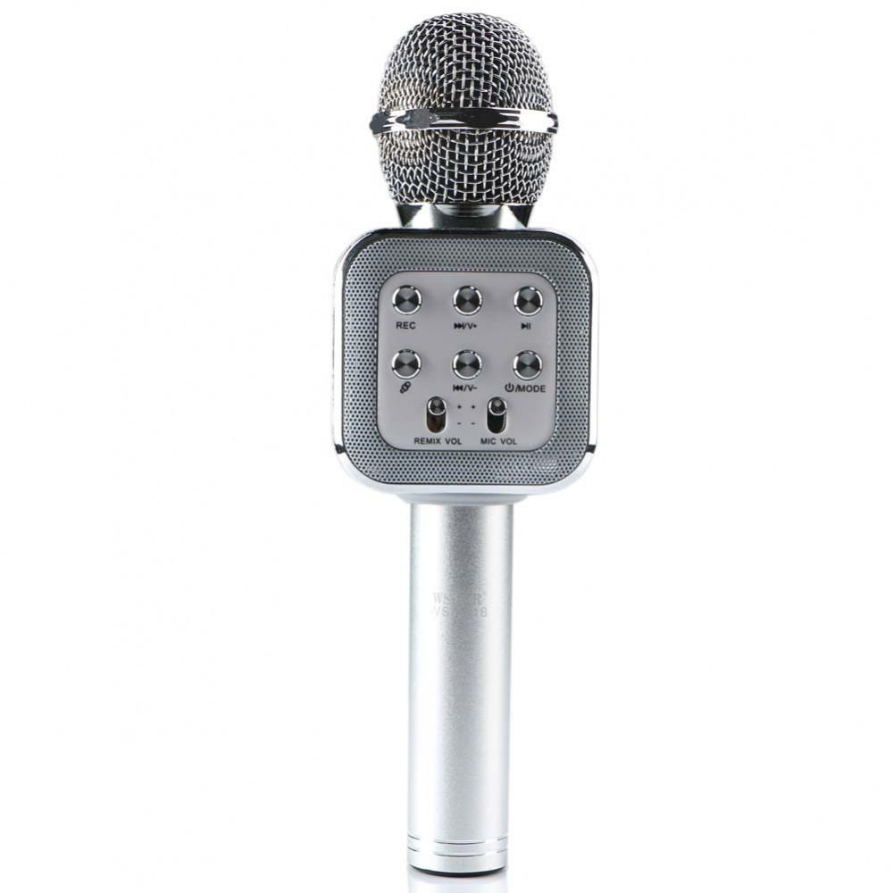 Беспроводной Караоке Микрофон с динамиком WS-1818 серебро