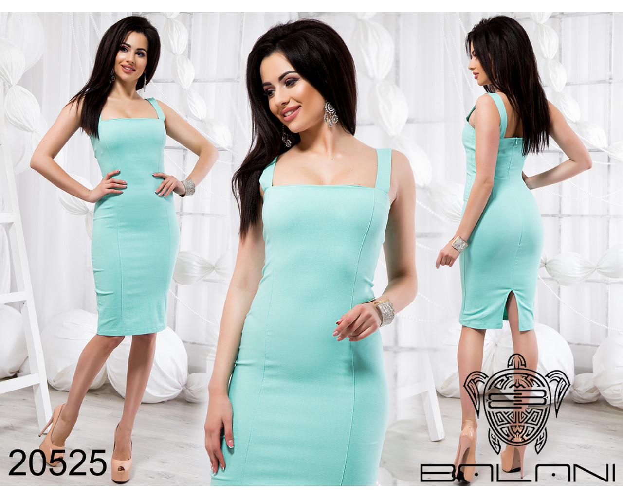 Мятное приталенное платье