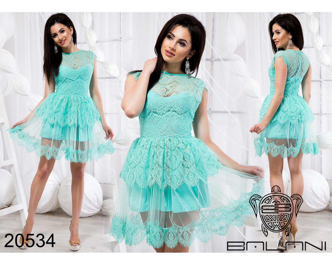 Платье Мятное код 20534