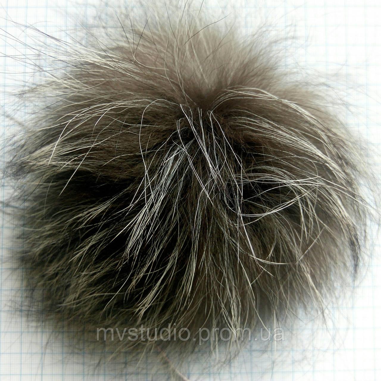 Помпон из натурального меха чернобурка - 19 см