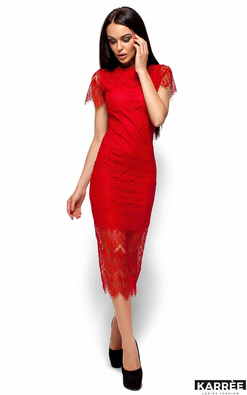 Приталенное платье из гипюра Karree Мелис красное