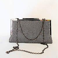 Симпатичная женская сумочка-клатч в камнях серебристого цвета MСY-075227, фото 1