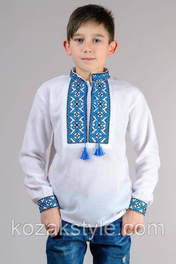 """Вишиванка для хлопчика """"Тарасик"""" (синя вишивка)"""