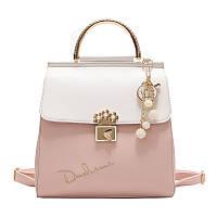 Рюкзак женский городской из экокожи с подвеской (розовый), фото 1