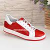 Детские кожаные мокасины на шнуровке, цвет красный, белый, фото 2