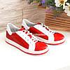 Детские кожаные мокасины на шнуровке, цвет красный, белый, фото 4