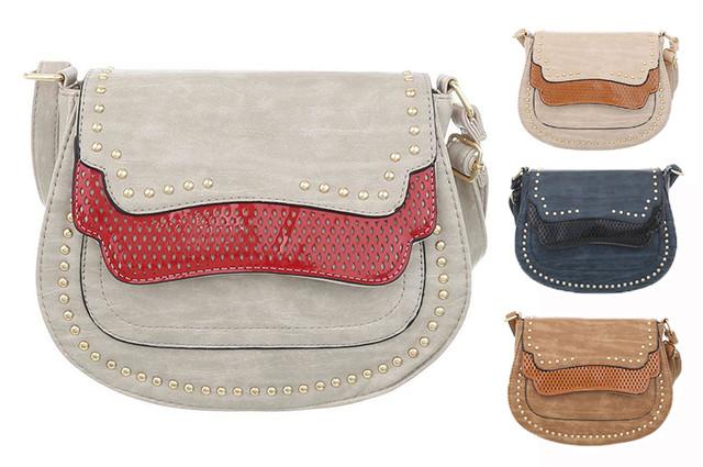 Женская сумка-седло с перформацией и заклепками (Европа) в цветах - интернет-магазин Denim Today