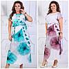 Летнее длинное платье принт Цветы Батал до 54р 16771