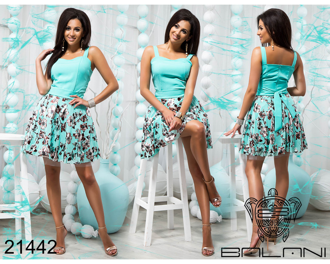 Ментоловое платье 21442