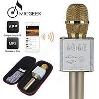 Портативный Q9 Караоке микрофон-колонка беспроводной 2 в 1 bluetooth + чехол Золотой
